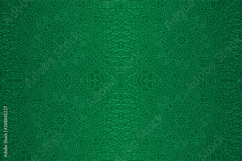 Fotografia, Obraz  Green art with detailed linear seamless pattern