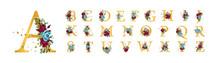 Golden Floral Alphabet Font Up...