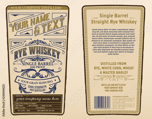 Fototapety, obrazy: Whiskey label for packing. Vector layered