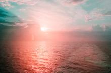 Beautiful View From The Deck Of The Cruise Ship At Sunrise And The Mediterranean Sea, Pink And Blue Tinted