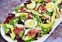 Keto Chicken And Bacon Salad. Healthy Paleo Salad Plate