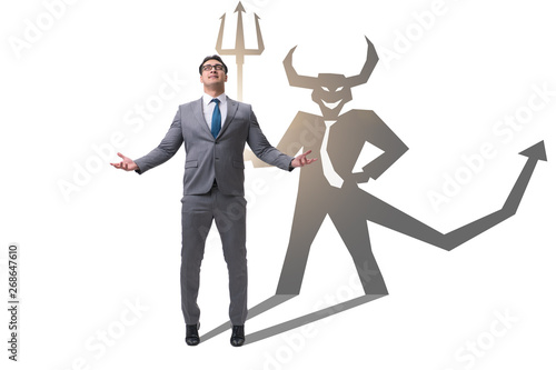 Canvas Print Devil hiding in the businessman - alter ego concept