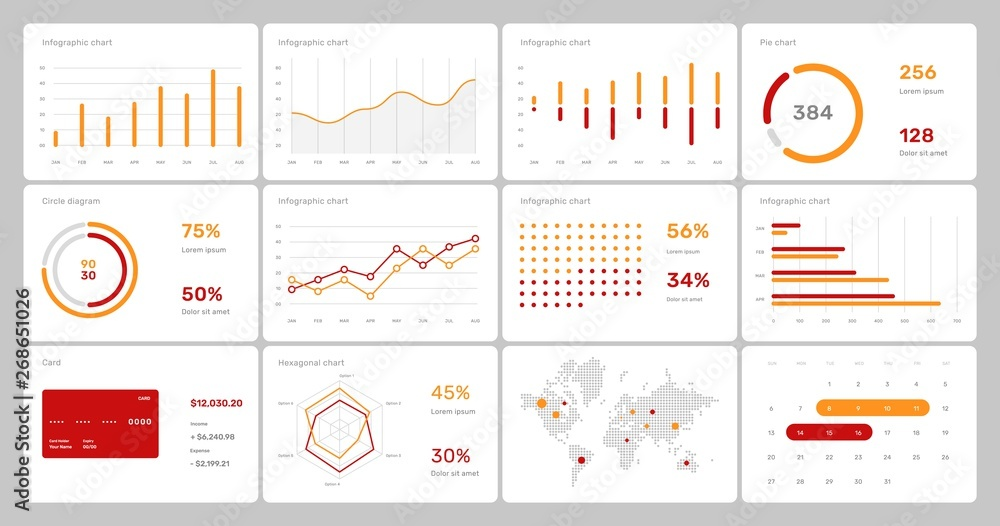 Fototapety, obrazy: Elements of infographics on a white background. Use in presentation templates, flyer and leaflet, corporate report. Dashboard template with big data visualization.