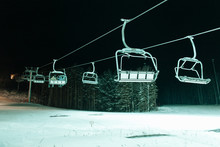 Chair Lift At The Winter Mountain Resort