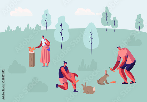Male and Female Characters Spend Time in Outdoor Zoo, Communicating and Playing with Wild Animals, Feeding Rabbits and Squirrels, Summer Leisure Time in Animal Park. Cartoon Flat Vector Illustration