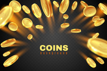 Gold Coin Explosion. Golden Dollar Coins Rain. Game Prize Money Splash. Casino Jackpot Vector Concept Isolated On Black Background