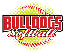 Bulldogs Softball Design Is A Bulldogs Mascot Design Template That Includes Team Text And A Stylized Softball Graphic In The Background. Great For Team Or School T-shirts, Promotions And Advertising.