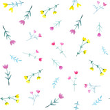Fototapeta Dinusie - Watercolor seamless pattern with bright flowers and leaves