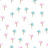 Fototapeta Dinusie - Watercolor pattern with palms trees. Beach style hand drawn pattern.