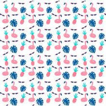 Pool Party Pattern With Flamingos, Pineapples And Sunglasses