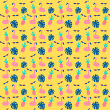Pool Party Pattern With Yellow...