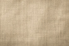 Hessian Sackcloth Woven Texture Pattern Background In Beige Cream Brown Color
