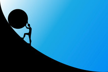 Man Pushing Big Boulder Uphill With Blue Sky. Concept Of Fatigue, Effort, Courage. Vector Cartoon Black Silhouette In Flat Design Isolated On Blue Background