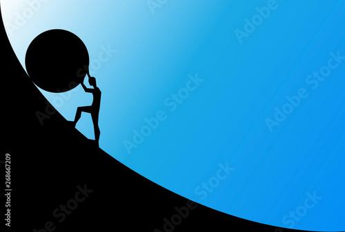 Obraz na plátně man pushing big boulder uphill with blue sky