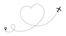 Airplane Route In Heart Shape. Romantic Travel Concept. Travel And Tourism Concept, Background With Start Point, Airplane And Dashed Line Trace