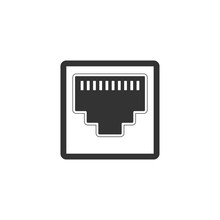 Network Port - Cable Socket Icon Isolated. LAN Port Icon. Ethernet Simple Icon. Local Area Connector Icon. Flat Design. Vector Illustration