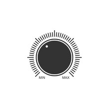 Dial Knob Level Technology Settings Icon Isolated. Volume Button, Sound Control, Music Knob With Number Scale, Analog Regulator. Flat Design. Vector Illustration