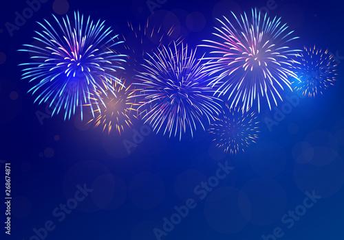 Fotomural colorful fireworks vector on dark blue background with sparking bokeh