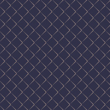 Vector Pattern Repeating Golden Angle Brackets On Dark Blue Background. Chevrons Abstract Ornament. Modern Japanese Scallops Motif. Squama Image. Pattern Is On Swatches Panel