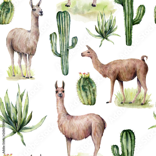 Stampa su Tela Watercolor seamless pattern with llama and desert cacti