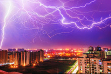 Multiple Lighting Bolts Thunder  During A Storm With A Dramatic Sky In Noida, Delhi India  - Image