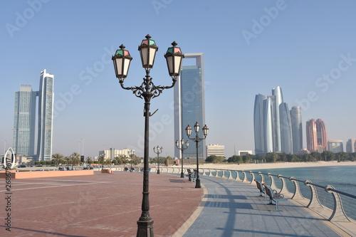 Canvas Prints Abu Dhabi Abu Dhabi Marina Promenade with Lampposts and Skyscrapers