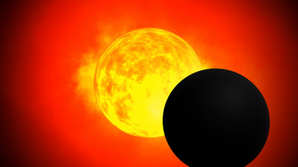 Solar eclipse All solar energy and the solar system of the universe In 3d format