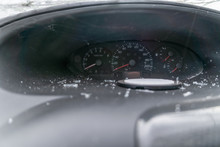 Dashboard Of The Car After The Accident Close-up