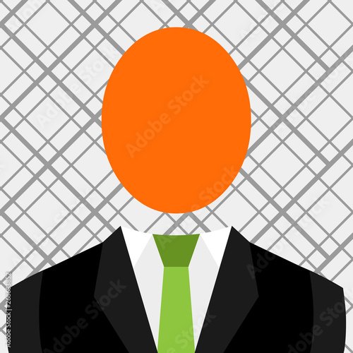 Symbolic Drawing Emblematic Figure Of Man Formal Suit Oval