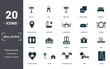 Leinwandbild Motiv Real Estate icons set collection. Includes simple elements such as For Sale, Keys, Rent Sign, Square Meter, Bedroom, Garage and Balcony premium icons