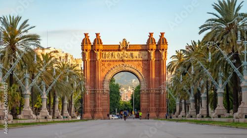 Foto The Arc de Triomf is a triumphal arch in the city of Barcelona in Catalonia, Spa