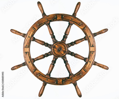 Tuinposter Schip Steering hand wheel ship on white background