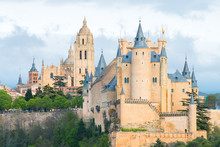 Amazing View Of Alcazar Royal Castle Of Segovia, Spain