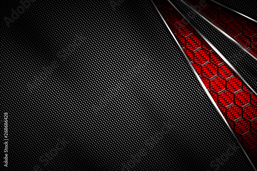 red and black carbon fiber and chromium frame. Canvas Print