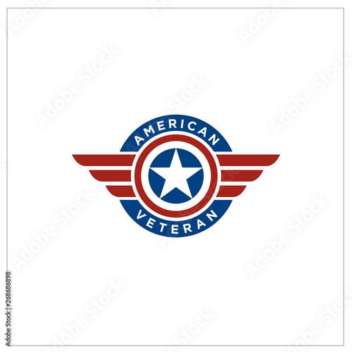 Photo  American Flag Patriotic Emblem Wings logo design