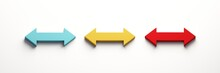 Resize Arrow Set Of Three Color. 3D Icon Rendering Illustration