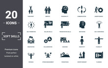 Soft Skills Icons Set Collection. Includes Simple Elements Such As Team Spirit, Empathy, Personality, Communication, Assertiveness, Collaboration And Coaching Premium Icons