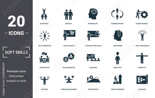Carta da parati Soft Skills icons set collection
