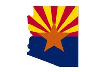 Map Of Arizona In The Arizona Flag Colors