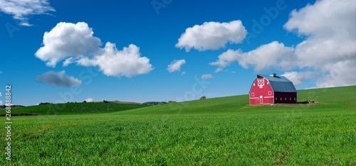 Fotografia Red barn in a green field of winter when Eastern Washington