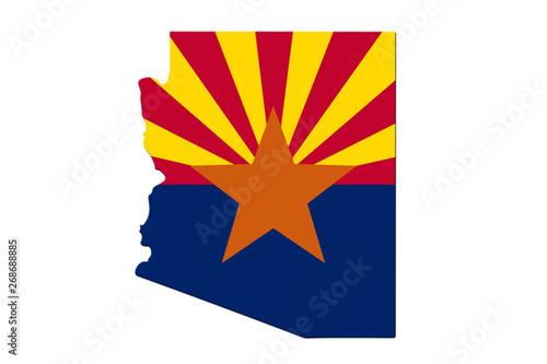 Map of Arizona in the Arizona flag colors Wallpaper Mural