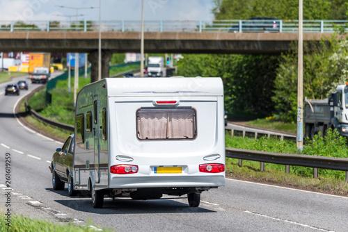 Photo caravan motorhome on uk motorway in fast motion
