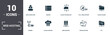 Leinwanddruck Bild - Web Hosting icons set collection. Includes simple elements such as Server Error, Modem, Cloud Hosting, Web Hosting, Virtualization, and Pool Swimming premium icons
