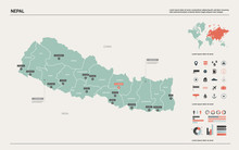 Vector Map Of Nepal. Country M...