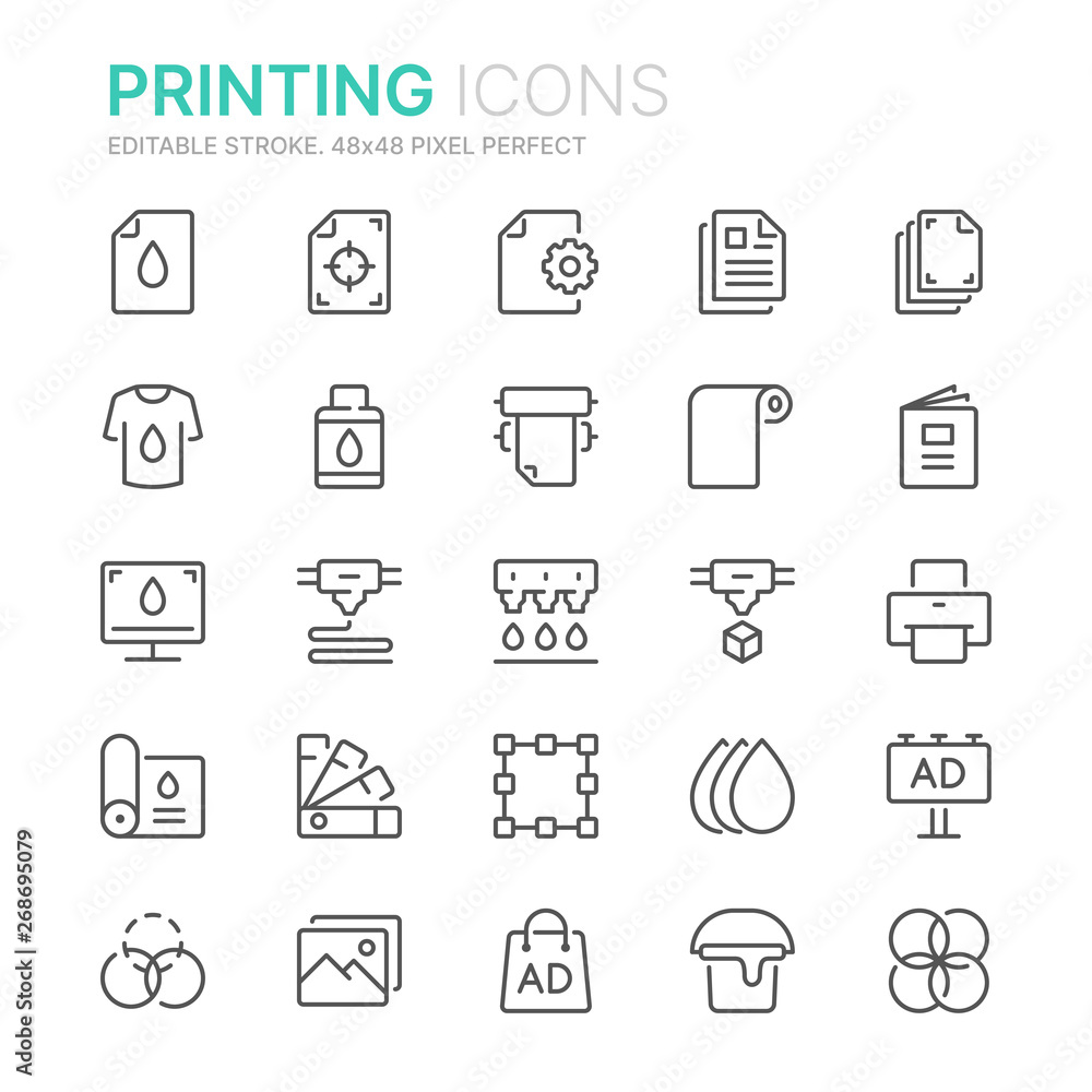 Fototapeta Collection of printing line icons. 48x48 Pixel Perfect. Editable stroke