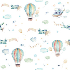Fototapeta Malarstwo Watercolor set background illustration of a cute cartoon and fancy sky scene complete with airplanes, helicopters, plane and balloons, clouds. Boy seamless pattern. It's a baby shower design