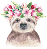 A poster with a baby sloth. Watercolor cartoon sloth tropical animal illustration. Jungle exotic summer print. - 268700865