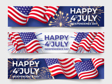 USA Independence Day. Three Horizontal Banners With USA Flags. 4th Of July Poster Templates