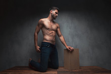 Hot Shirtless Guy Pulling His Jeans And Kneeing