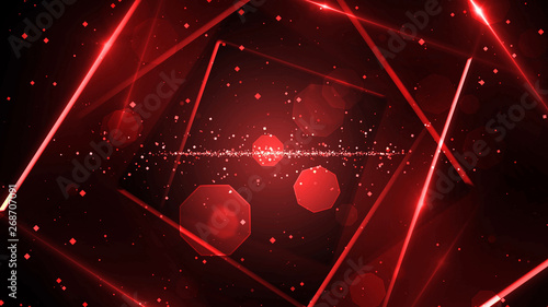 Photo  Red virtual abstract background space tunnel with neon line lights